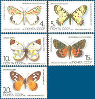 USSR Russia 1986 One Set Insects Insect Butterflies Butterfly Animals Animal Fauna Nature Stamps MNH Michel 5584-5588 - 1923-1991 USSR