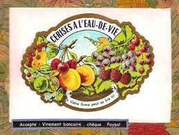 Etiquette Medaillon Cerises A L'eau De Vie - Fruits & Vegetables