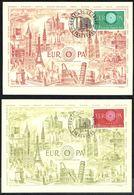 "Y/T N° 1266/67 S/ 2 CM - EUROPA 1960  - Oblit. ""CONSEIL DE L'EUROPE - STRASBOURG - 17 SEPT. 1960"". - Maximumkarten"