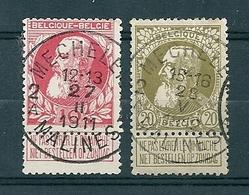 74/75 Gestempeld MECHELEN - MALINES 2A  - COBA 8 Euro - 1905 Thick Beard