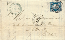 Mai1876- Lettre De La Mine De Gromesnil ( Puy De Dôme ) Cad Conv. Stat. De BRASSAC-LES-MINES ( Puy De Dome) NIM.CL - 1849-1876: Periodo Clásico