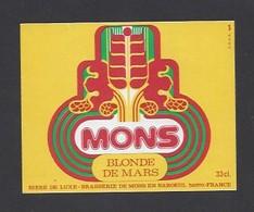 Etiquette De Bière Blonde Mars  -  Mons  -  Brasserie De Mons En Baroeul  (59) - Beer