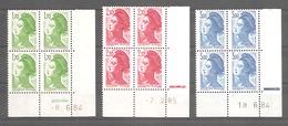 LIBERTE De GANDON 1984 -  Série Complète 3 Valeurs Neuves. Coins Datés Y&T N° 2318** à 2320** . Avec RE Ou 2 Traits. TB - Angoli Datati