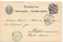 SUISSE Genève 1887 Cachet Queue Ou Sac, à Anse, Diamètre Env. 6 Mm, Entier Postal + Type Chiffre, Pour Boëge France - Stamped Stationery