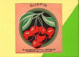 Etiquette SURFIN  Cerises - Fruits & Vegetables