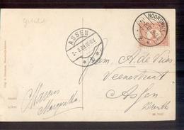 Noordwijk 2 Langebalk Assen 1 - 1909 - Marcofilia
