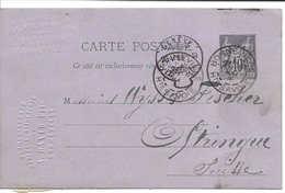 Cachet Genève 1886 Cachet Queue Ou Sac, à Anse, Diamètre Env. 8 Mm Sur Entier Postal Type SAGE, Pour Oftringen Aargau - Postal Stamped Stationery
