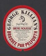 Etiquette De Bière Rousse 25 Cl - George Killian's  -  Brasserie  Pelforth à Lille  (59) - Beer