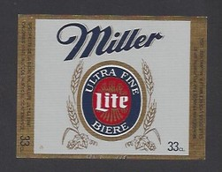 Etiquette De Bière Ultre Fine - Miller  -  Brasserie  Pelforth à Lille  (59) - Beer