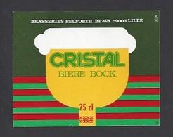 Etiquette De Bière Bock Cristal -  Brasserie  Pelforth à Lille  (59) - Beer