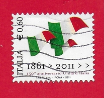ITALIA REPUBBLICA USATO - 2011 - 150º Anniversario Dell'unità D'Italia - Bandiere Italiane -  € 0,60 - S. 3212 - 6. 1946-.. Republic