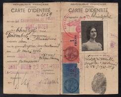 FRANCE - SAINT DIZIER - WWII / 1939 FISCAUX SUR CARTE D'IDENTITE AVEC CACHET NAZI (ref 7530) - Fiscaux