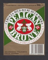 Etiquette De Bière De Brune -  Pélican  -  Brasserie  Pelforth à Lille   (59) - Beer
