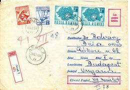 Romania Registered Cover Sent To Hungary Arad 28-12-1971 - Cartas