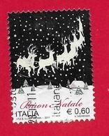 ITALIA REPUBBLICA USATO - 2011 - NATALE LAICO - Renne E Paesaggio Innevato -  € 0,60 - S. 3289 - 6. 1946-.. Republic