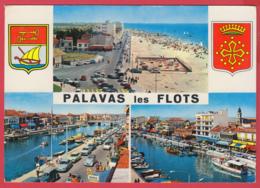 CP-34-PALAVAS-Les-FLOTS - Multivues - Ann.60- DYNA Panhard- Blason - Armoiries - Belle Flamme Postale* 2 SCAN- - Palavas Les Flots