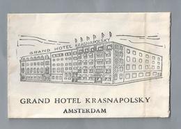 Suikerzakje.- AMSTERDAM GRAND HOTEL KRASNAPOLSKY. Sugar Bag. Embalage De Sucre. Zucchero. Zucker - Suiker