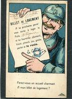 CPA - Illustration - BILLET DE LOGEMENT - War 1914-18