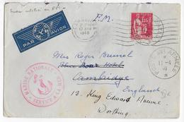 1940 - POSTE NAVALE - ENVELOPPE FM De BONIFACIO (CORSE) Par AVION (AJOUT TIMBRE PAIX) => ANGLETERRE Avec MECA CAMBRIDGE - Marcophilie (Lettres)
