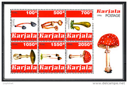 KARELIA KARJALA CARELIE 1996, CHAMPIGNONS C / MUSHROOMS, FANTAISIE / CINDERELLA, 6 Valeurs, Neufs / Mint. R937 - Vignettes De Fantaisie
