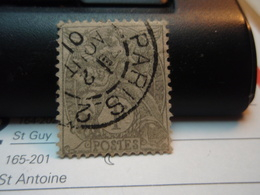 Timbre  1 Centime Type Blanc  Oblitéré - PARIS 2 AOUT 190. - 1900-29 Blanc