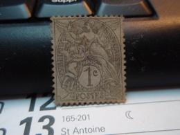 Timbre  1 Centime Type Blanc  Oblitéré - Trace Violette. - 1900-29 Blanc