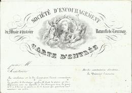 TOURNAI - Carte Type Porcelaine Société D'Encouragement Du Musée D'Histoire Naturelle De Tournay, Carte D'Entrée XIXè S. - Tournai