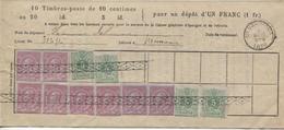 CL29/ TP 46 (8) - 45 (4) Annulés Par La Roulette S/Doc.d'Epargne Livret N° 31656 Délivré à Nessonvaux C.4 AOUT 5-S 1886 - 1884-1891 Leopold II