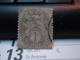 Timbre 1 Centime Type Blanc  Oblitéré - 1900-29 Blanc