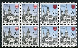 SLOVAKIA 1994 Definitive: Towns 3 Kc In Blocks Of 4 With Yellow Shiny Gum And White Matt Gum MNH / **.  Michel 206 - Nuevos