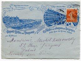 RC 14911 FRANCE CARTE LETTRE A EN-TETE COMMERCIALE ILLUSTRÉE HOTEL DE PARAMÉ PRÈS ST MALO ET JARDIN DES TUILERIES PARIS - Postmark Collection (Covers)