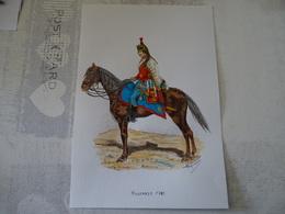 PLANCHE AQUARELLEE HUSSARDS 1783 - Estampes & Gravures