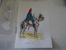 PLANCHE AQUARELLEE HUSSARDS 1793 - Estampes & Gravures