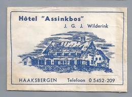 Suikerzakje.- HAAKSBERGEN. HOTEL ASSINKBOS. J.G.J. Wilderink. Tel. 209. Sugar Bag Embalage De Sucre Zucchero Zucker - Suiker