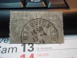 2 Timbres 1 Centime Type Blanc  Oblitéré  MARQUION 13 Avril 1914 - 1900-29 Blanc