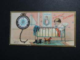 CHROMO.  Chocolat  SUCHARD.  Heures De La Journée D'un Enfant.  7 Heures  Réveil. Montre à Gousset - Suchard