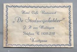 Suikerzakje.- KORTGENE. Hotel Café Restaurant DE STADSWIJNKELDER. Maldegem . Sugar Bag Embalage De Sucre Zucchero Zucker - Suiker