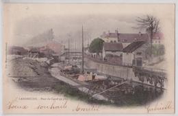 LANDRECIES - Pont Du Canal En 1895 Avec Péniche Cpa Colorisée - Landrecies