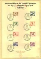 1936, Sonderblatt Mit Olympiasatz Und Sonderstempel BERLIN OLYMPIA-STADION - UNGEFALTET1 - Sommer 1936: Berlin