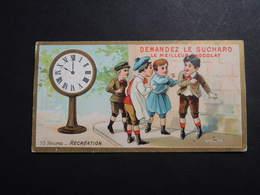 CHROMO.  Chocolat  SUCHARD.  Heures De La Journée D'un Enfant.  10 Heures  Récréation.  Horloge Sur Pied. Horlogerie - Suchard