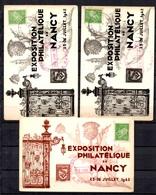 France Nancy Timbre De L'expo EPN 1942 Oblitéré Sur Trois Cartes De L'Exposition. B/TB. A Saisir! - Libération