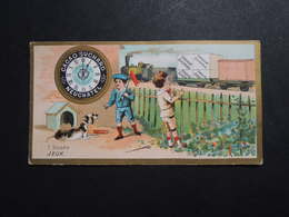 CHROMO.  Chocolat  SUCHARD.  Heures De La Journée D'un Enfant. 1 Heure.   Jeux.  Horloge. Train.Locomotive - Suchard