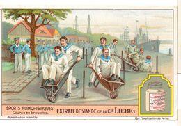 "S1232- CHROMO LIEBIG - 1929 -  "" SPORTS HUMOURISTIQUES "" : COURSE EN BROUETTES - Liebig"