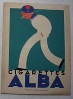 Carton Publicitaire Cigarettes ALBA  Cigarette Tabac Tobacco Illustration DC Marin Fumant PUB - Autres