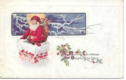 Santa Claus, Weihnachtsmann, Le Père Noël, Babbo Natale, Chimney, Schornstein, Cheminée, Moon, La Lune / Embossed - Santa Claus