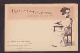 CPA Maitres De La Carte Postale Par MITTAG Leibniz Waffel Non Circulé Voir Scan Du Dos - Publicité