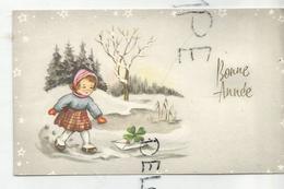 Mignonnette De Vœux. Petite Fille Et Lettre De Nouvel An. - Año Nuevo