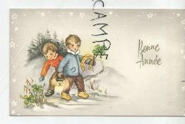 Mignonnette De Vœux. Deux Petits Garçons, Fer à Cheval Et Lanterne - Año Nuevo