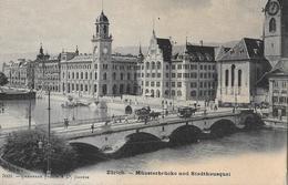 ZÜRICH → Münsterbrücke Mit Tram Und Kutschen, Ca.1900 - ZH Zurich