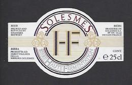 Etiquette De Bière - H F   -   Brasserie  De Solesmes à  Denain   (59) - Beer